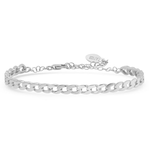 CHAIN LINK BANGLE WITH CHAIN CLOSURE
