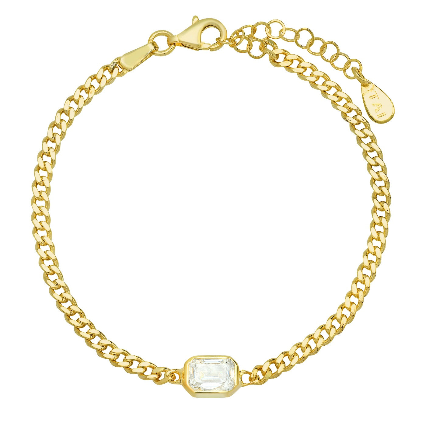 Gold Chain Bracelet With Bezel Set Emerald Cut Center Stone