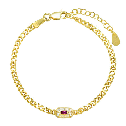 Vintage Inspired Gold and Ruby Chain Bracelet