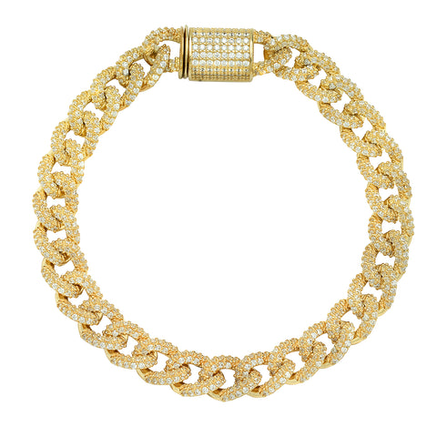 CZ Crusted Gold Chain Bracelet