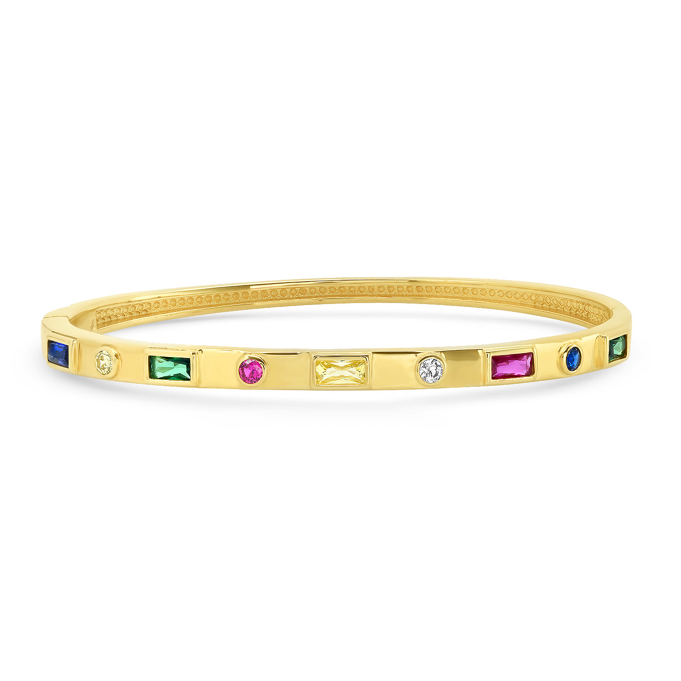 Gold Bangle Bracelet with Multi-Colored Stones