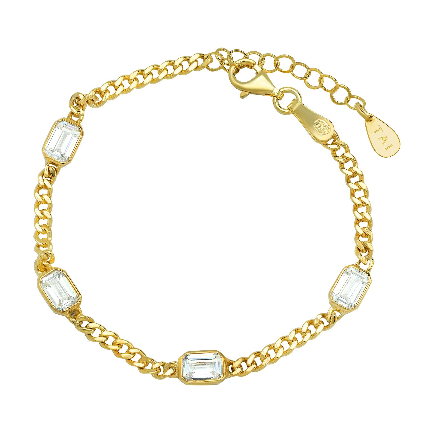 Gold Curb Chain With Bezel Set Emerald Cut CZ Stones