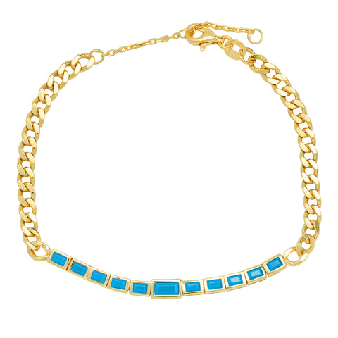 Gold Chain Bracelet with Turquoise Baguettes