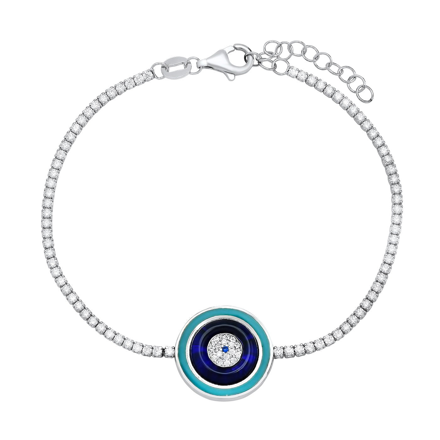 Silver CZ Tennis Bracelet With Enamel Round Eye Center