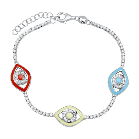 Silver Snake Chain Bracelet with Enamel Evil Eyes