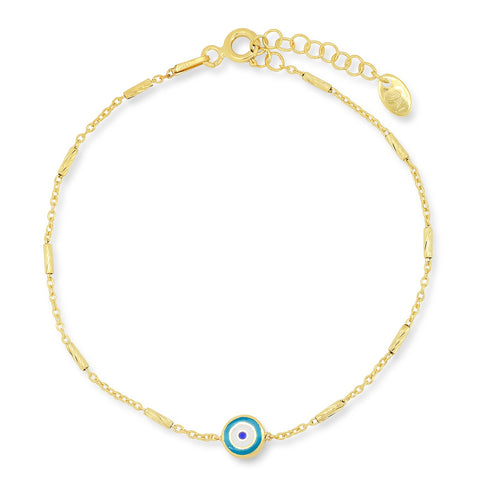 Enamel Evil Eye Bar Chain Bracelet