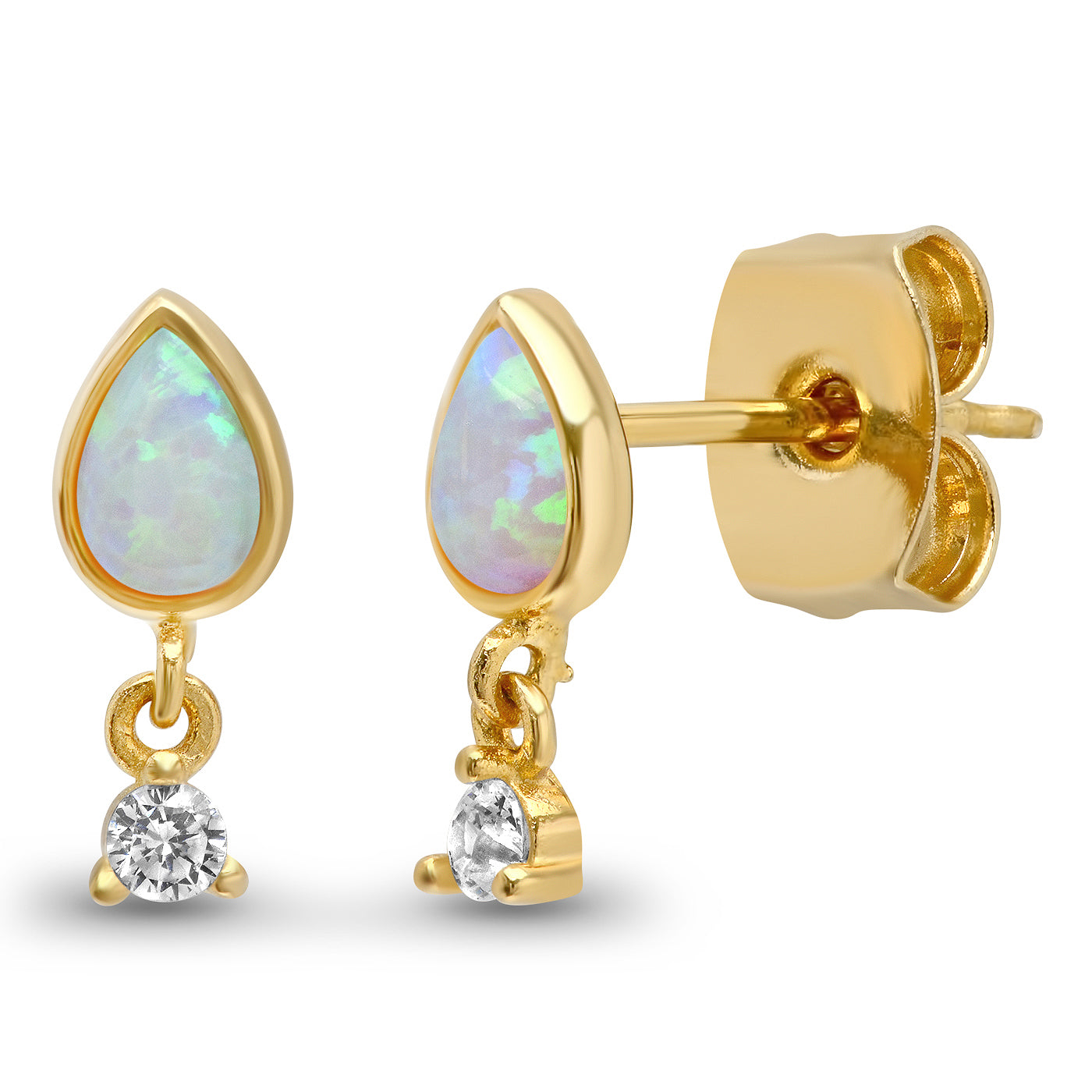 Gold Vermeil Teardrop Opal with CZ Dangle