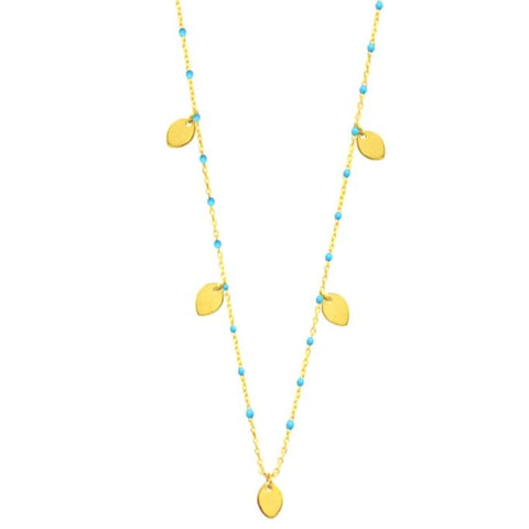 Turquoise Enamel Necklace with Gold Vermeil Petals