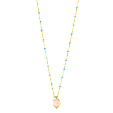 Enamel Necklace with Stone Charm