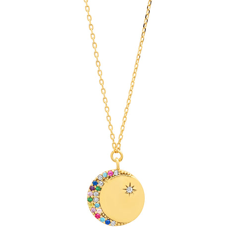 Coin Pendant with Multi Colored Star and Moon
