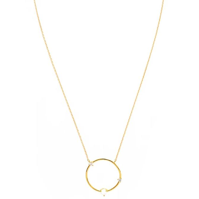 Circle necklace with opal and CZ accents