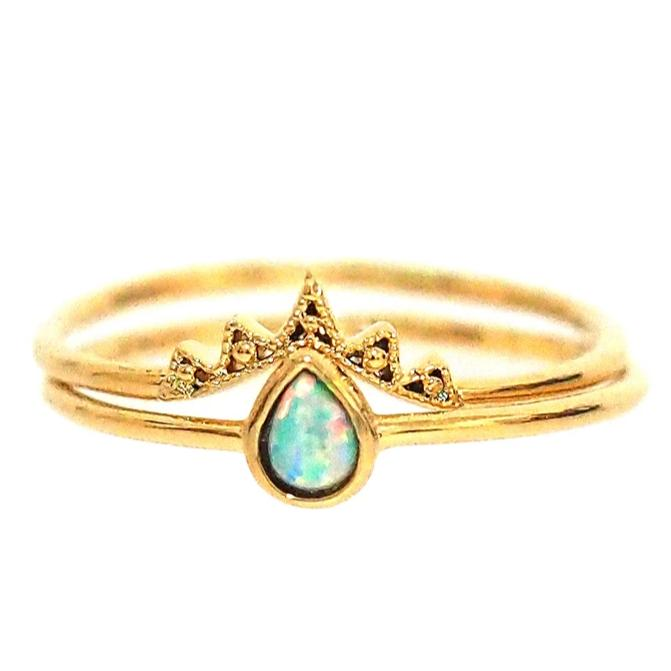 Crowned Opal Ring Set