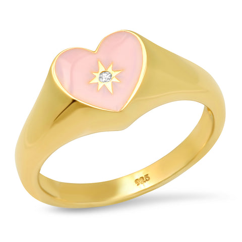 Pink Heart Signet Ring