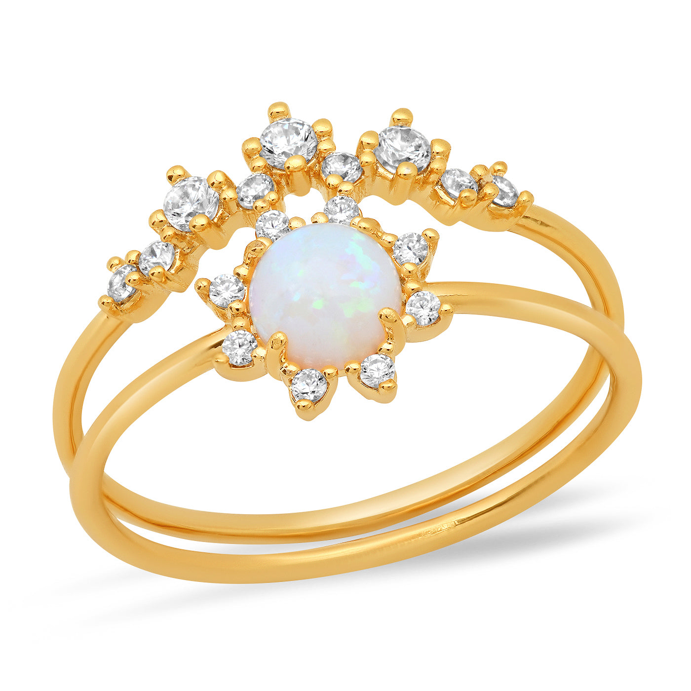 Set of 2 Opal and CZ Ring