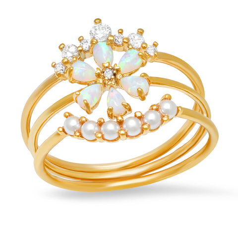 Flower Stack Ring with Opal and Pearl Accents