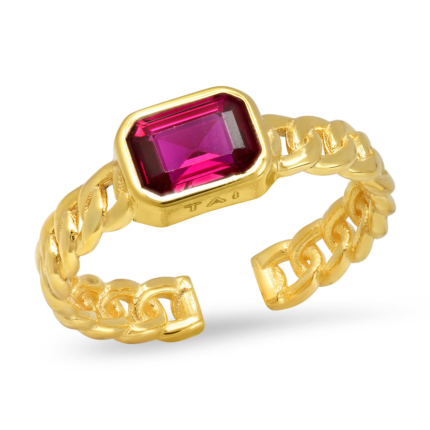 Gold Chain Ruby Ring