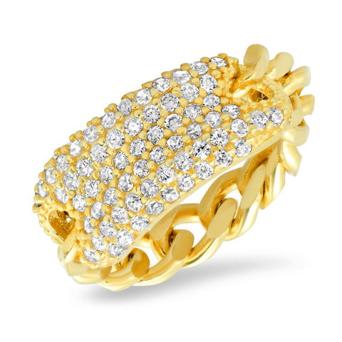 Chain link Ring with Pave CZ Bar