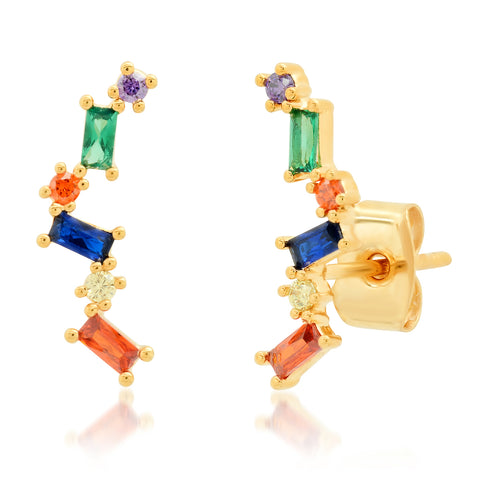 Multi-Dimensional Baguette Crawler Earrings