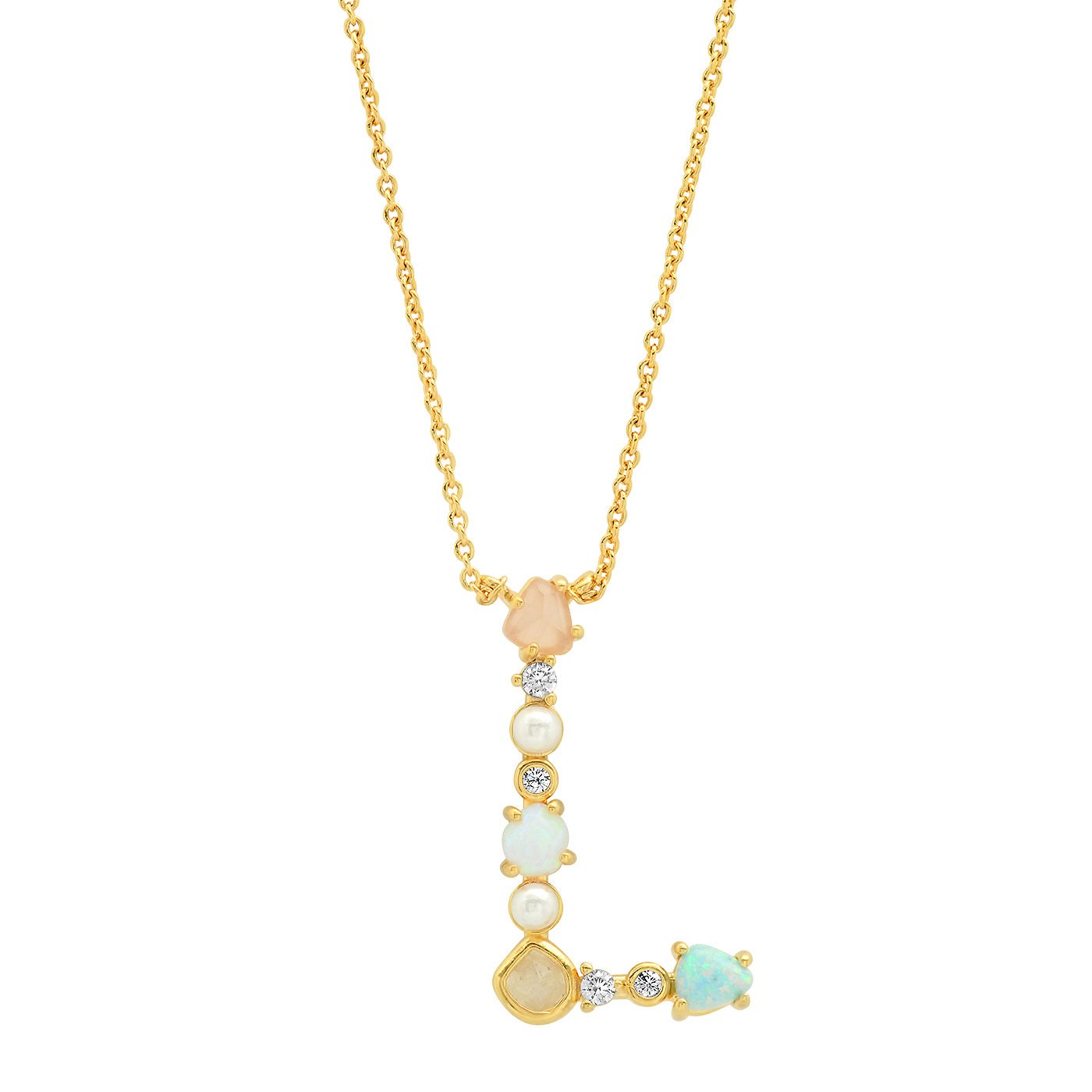 Opal Stone Monogram Necklace