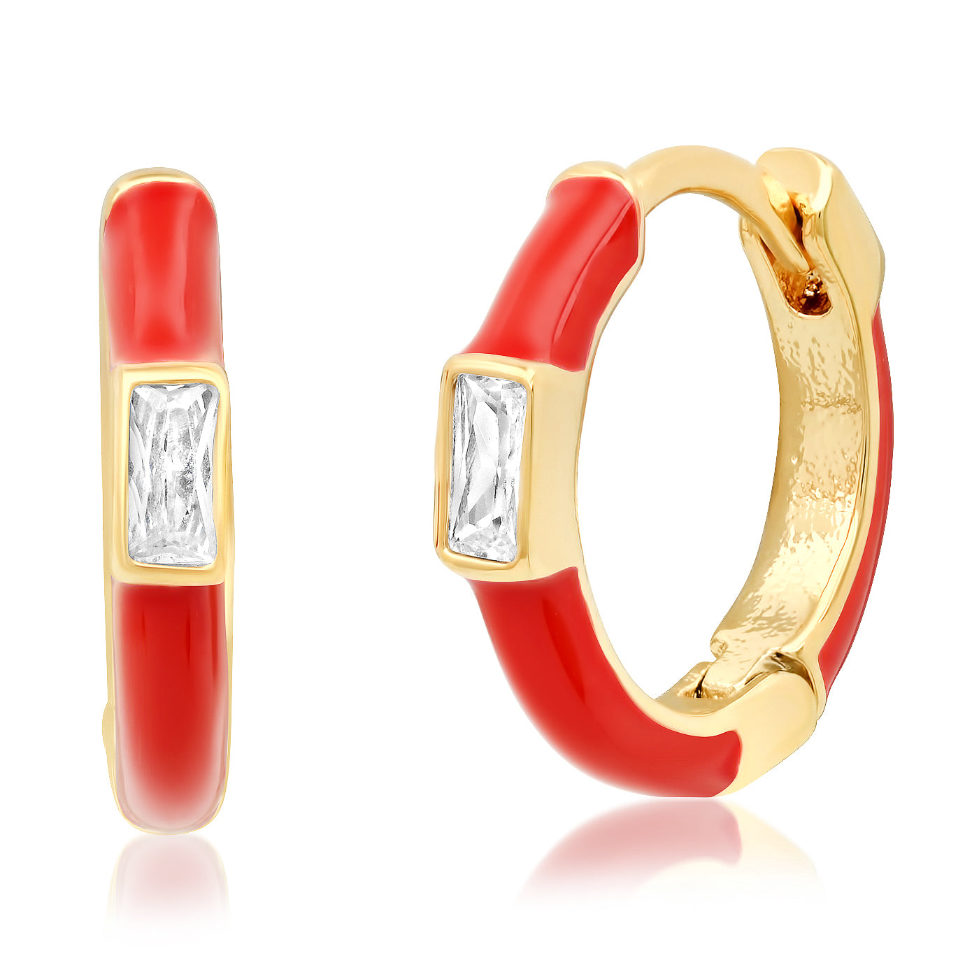 Enamel Huggie with CZ Baguette Accent