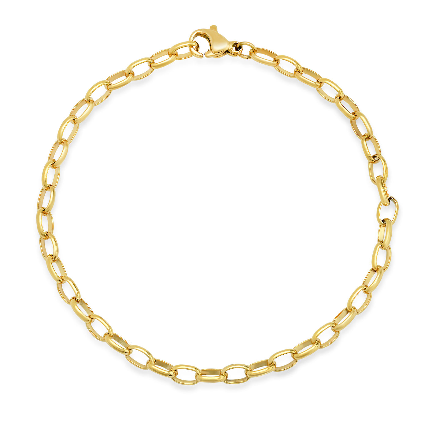 Gold Oval Cable Chain Link Bracelet