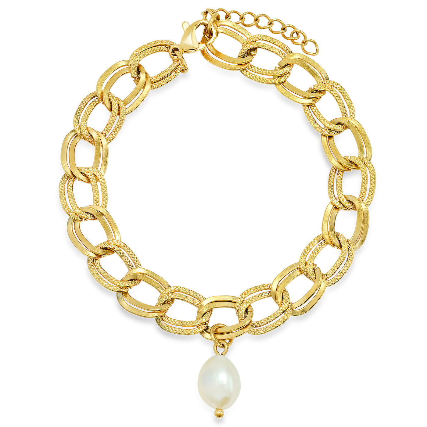 Double Chain Bracelet with Freshwater Pearl