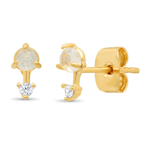 Clear Rock Crystal Stud with Gold Bar and CZ Accent