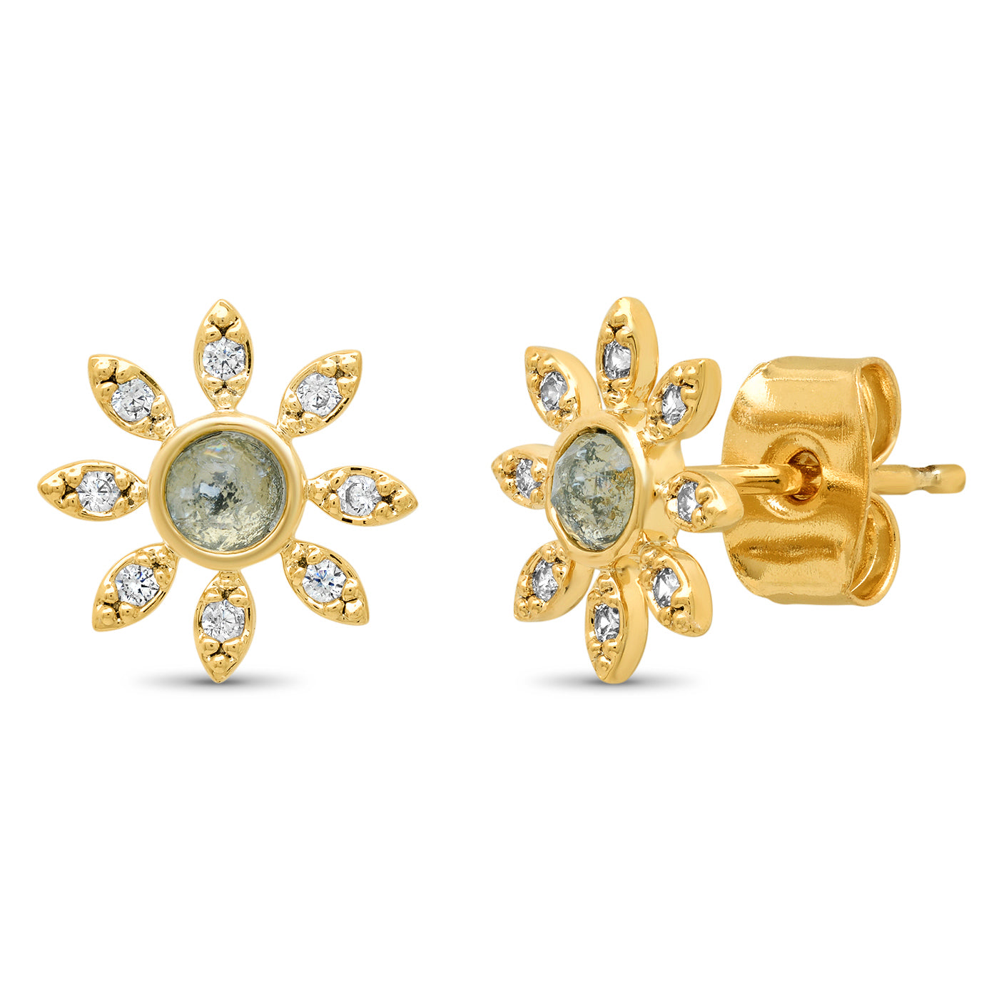 Rock Crystal Flower Stud