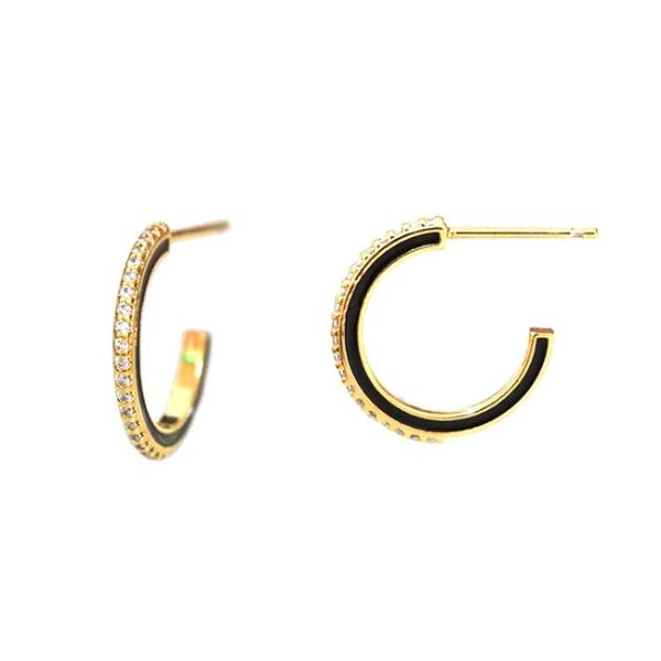Small Pave Enamel Hoops
