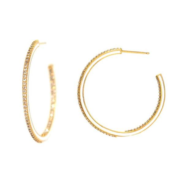 Medium Pave Enamel Hoops