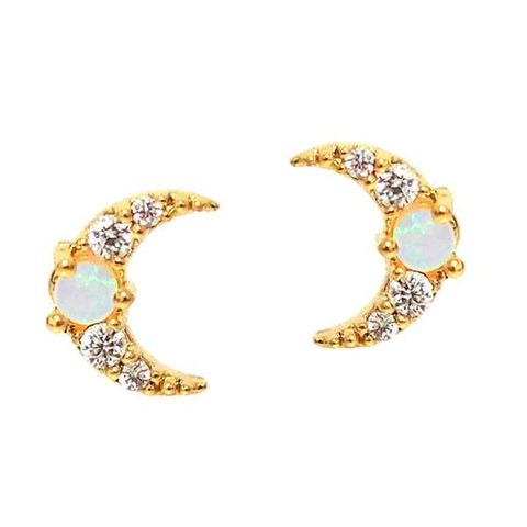 Moon Studs with Opal Center