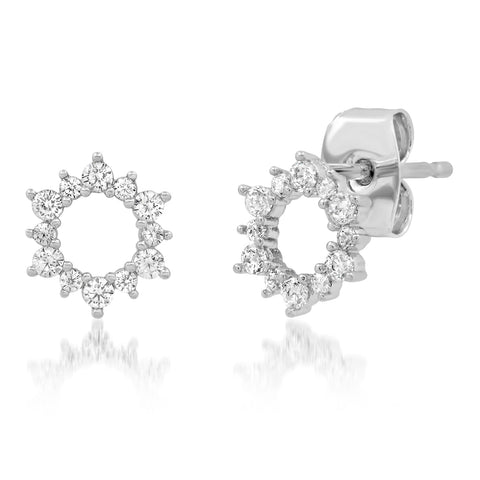 Pave Open Circle Flower Stud Earring