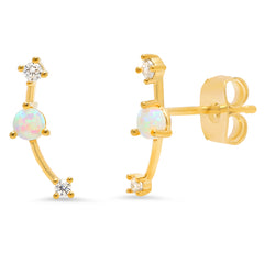 Opal Ear Climber with CZ Accents
