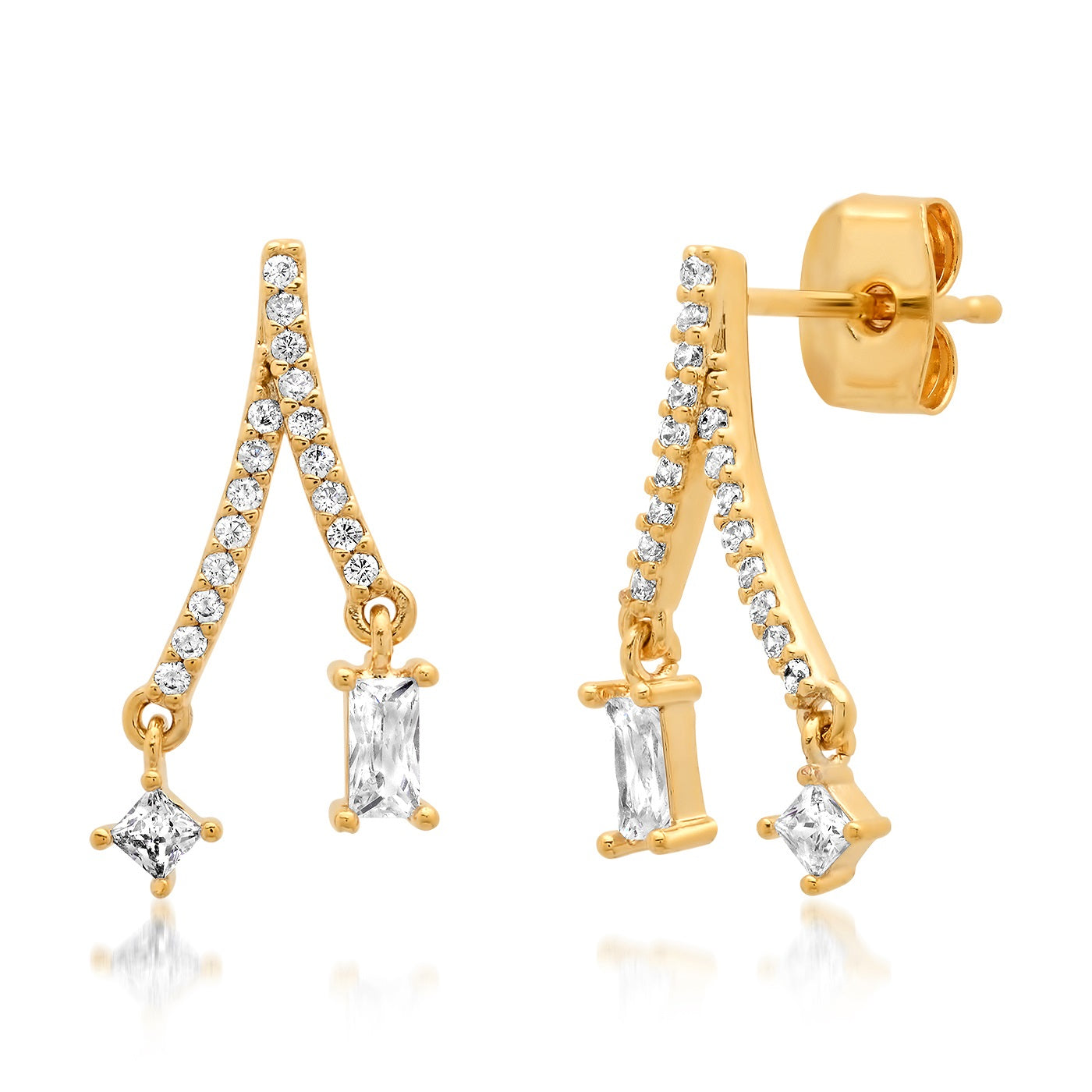 Split Linear Pave CZ Earring