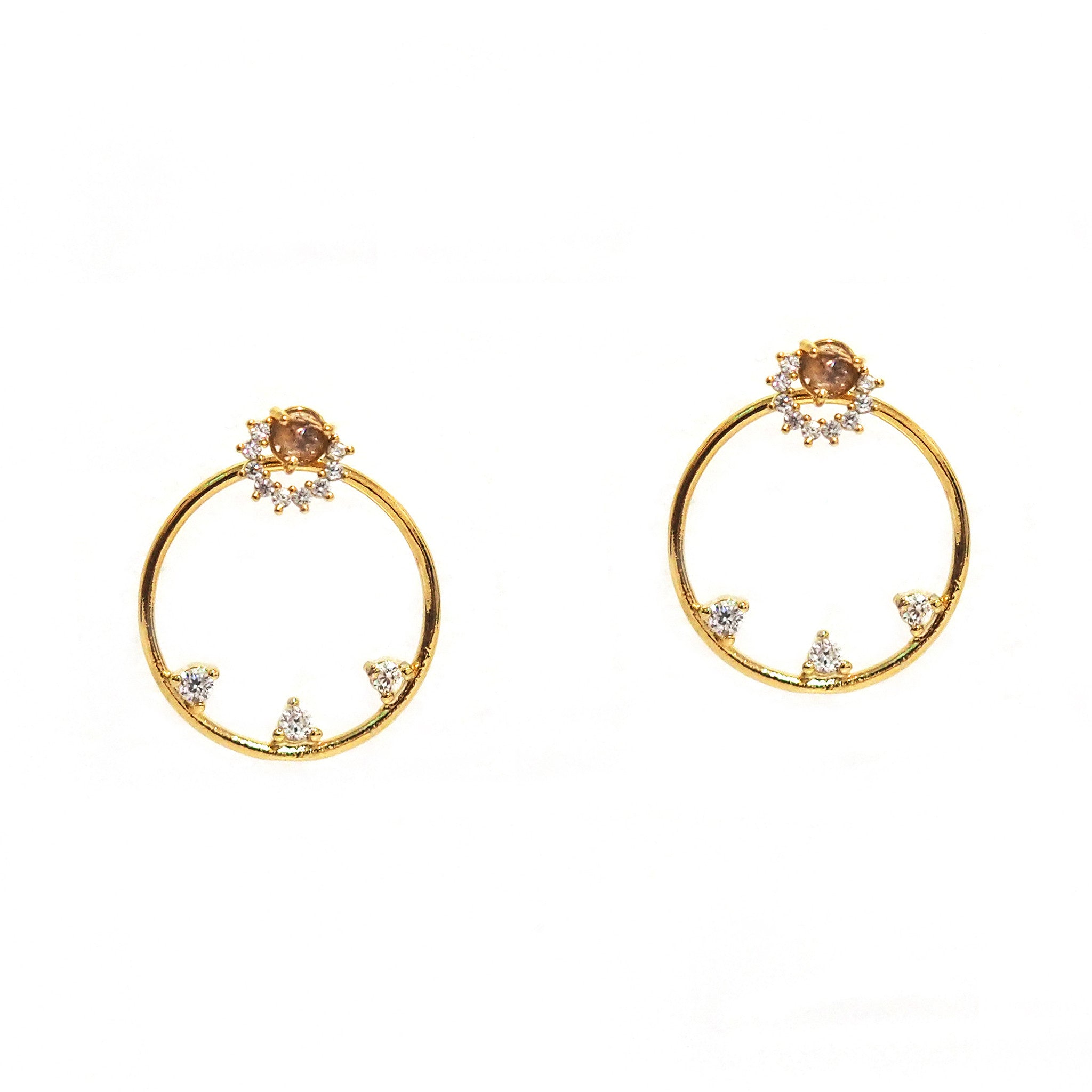 Champagne and CZ Stud with Open Circle Jacket