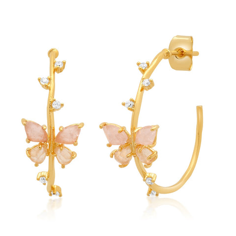 Gold Hoops with Rock Crystal Butterflies