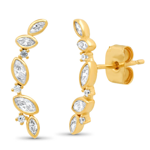 Marquis Shaped CZ Cluster Ear Climber