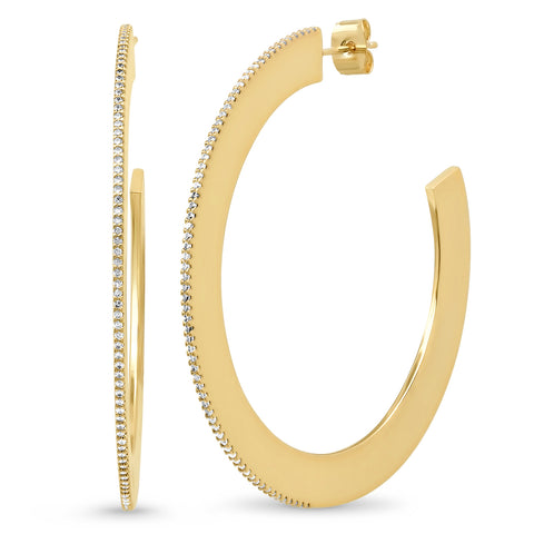 Extra Large Flat Hoops with Pave CZ Accents