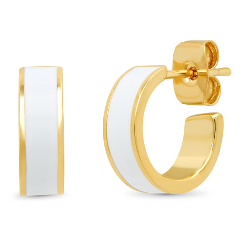 Gold and Enamel Huggie Post Earrings