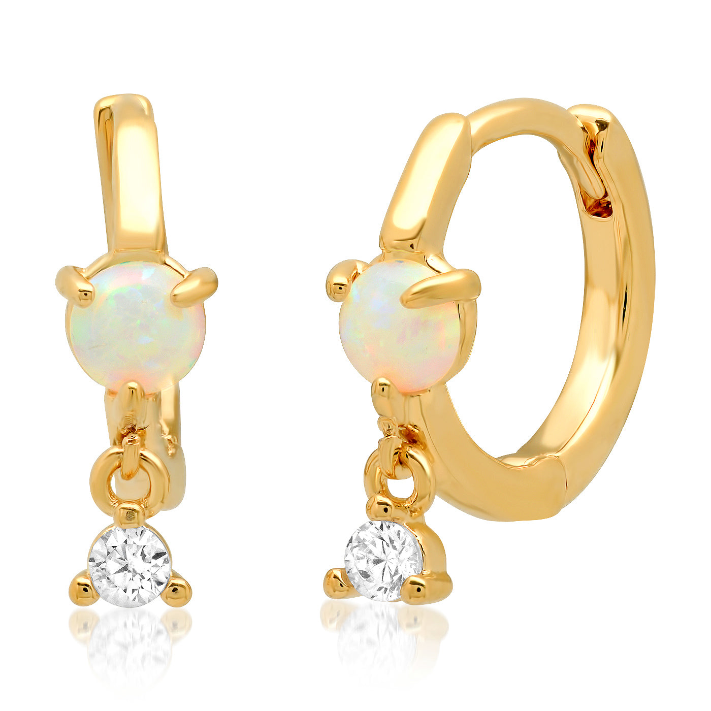 Gold huggies with Opal and CZ Stone Accents