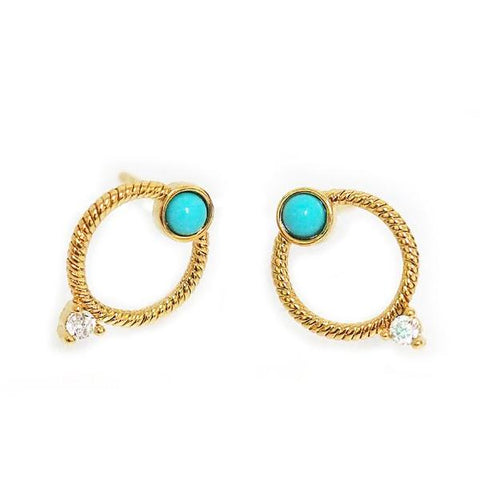 Textured Circle Shape Stud Earrings w Turquoise Stone & CZ Accent