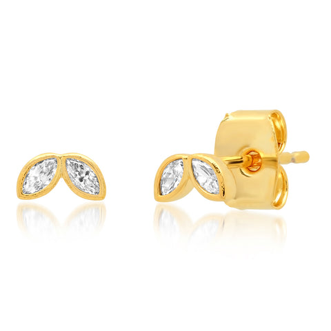 Gold CZ Double Leaf Mini Stud