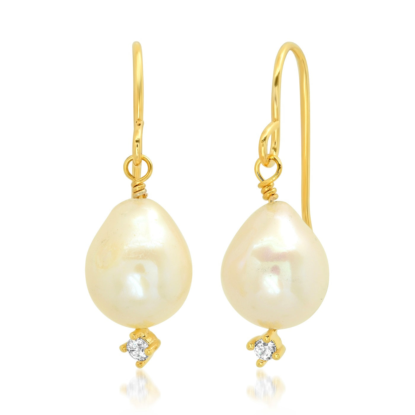 Teardrop Freshwater Pearl Earring on French Wire with CZ Drop