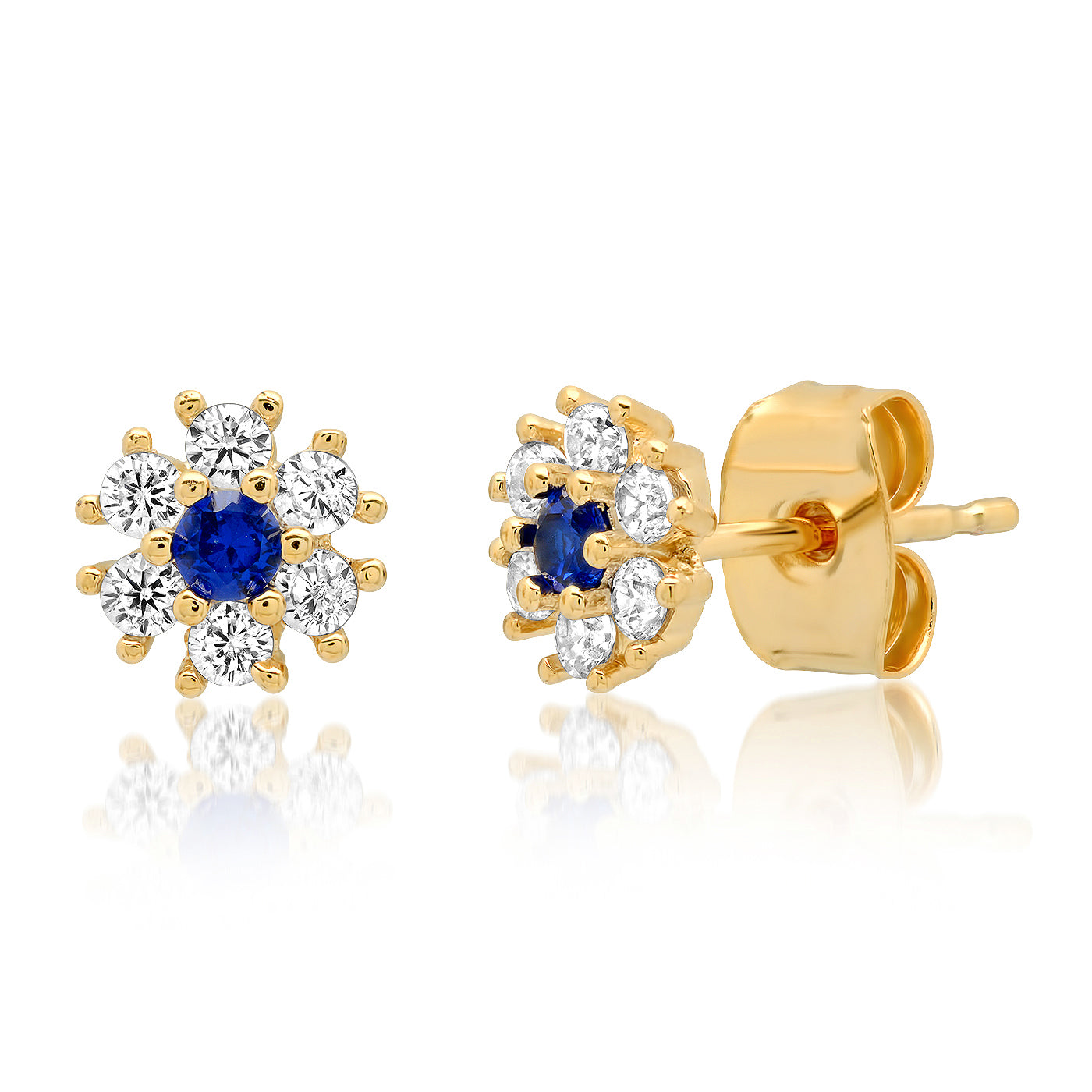 CZ Flower Stud with Jewel Tone Center Stone
