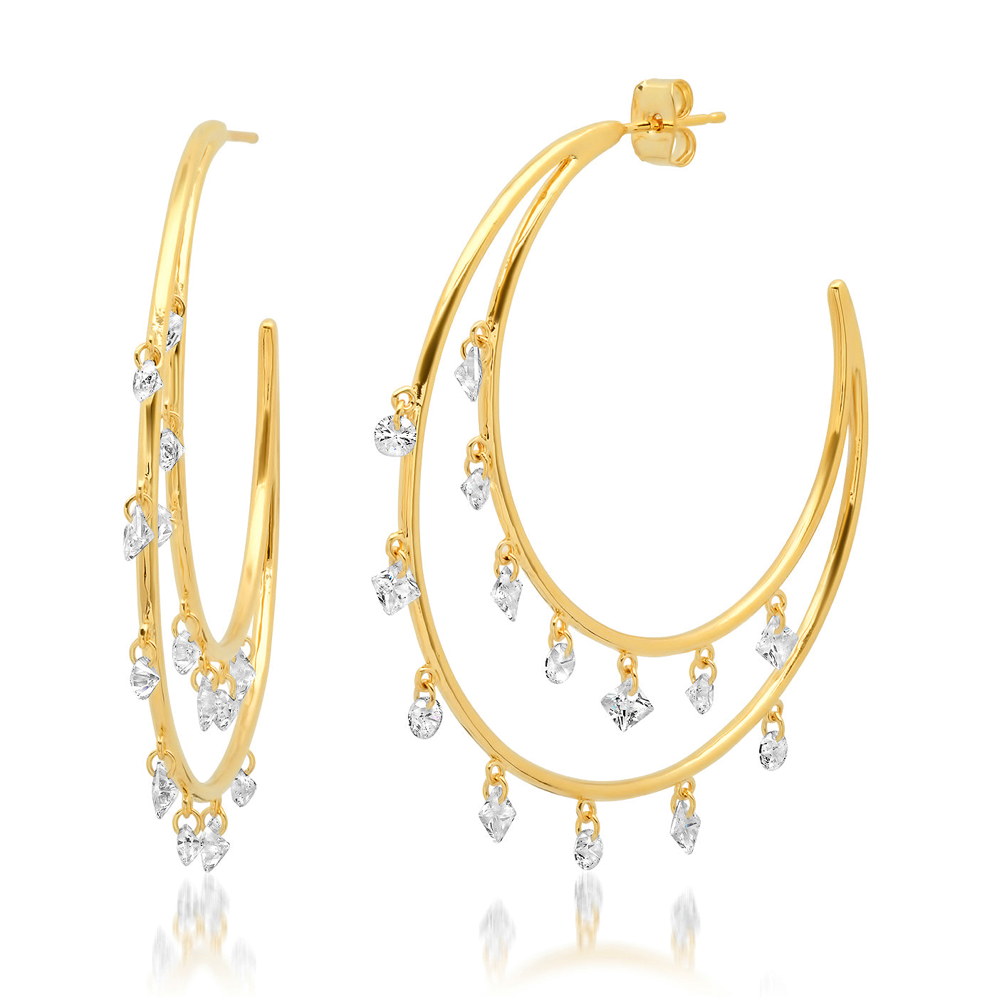 Double Crescent Hoops with CZ Dangle Accents