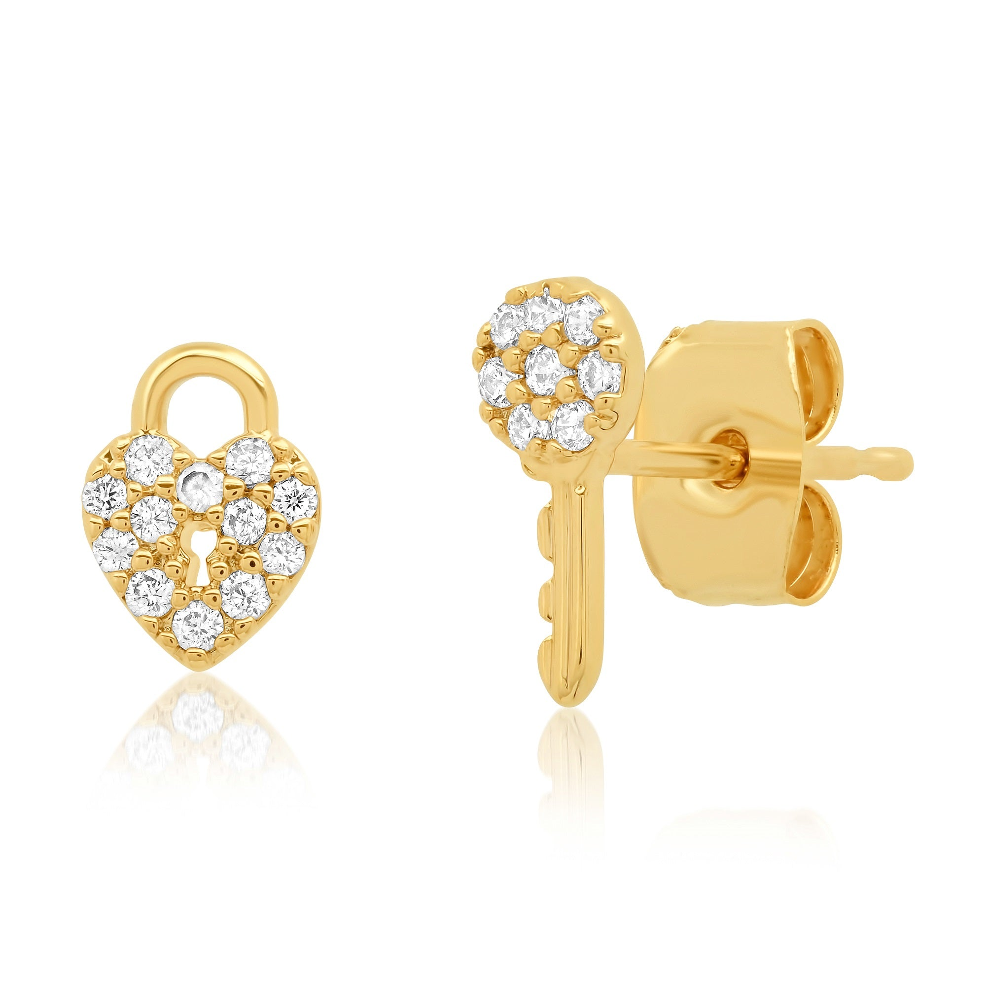 Pave CZ Heart Lock and Key Studs