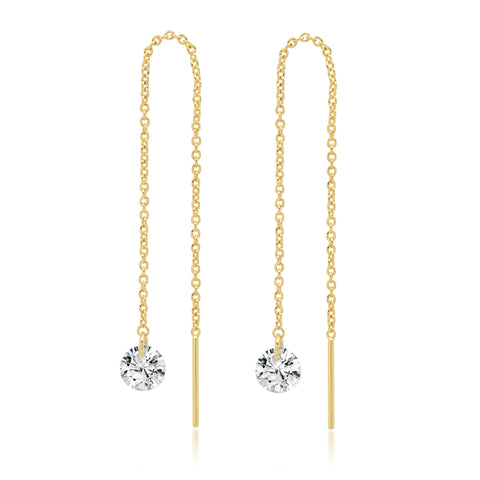 Round CZ Threader Drop Earrings