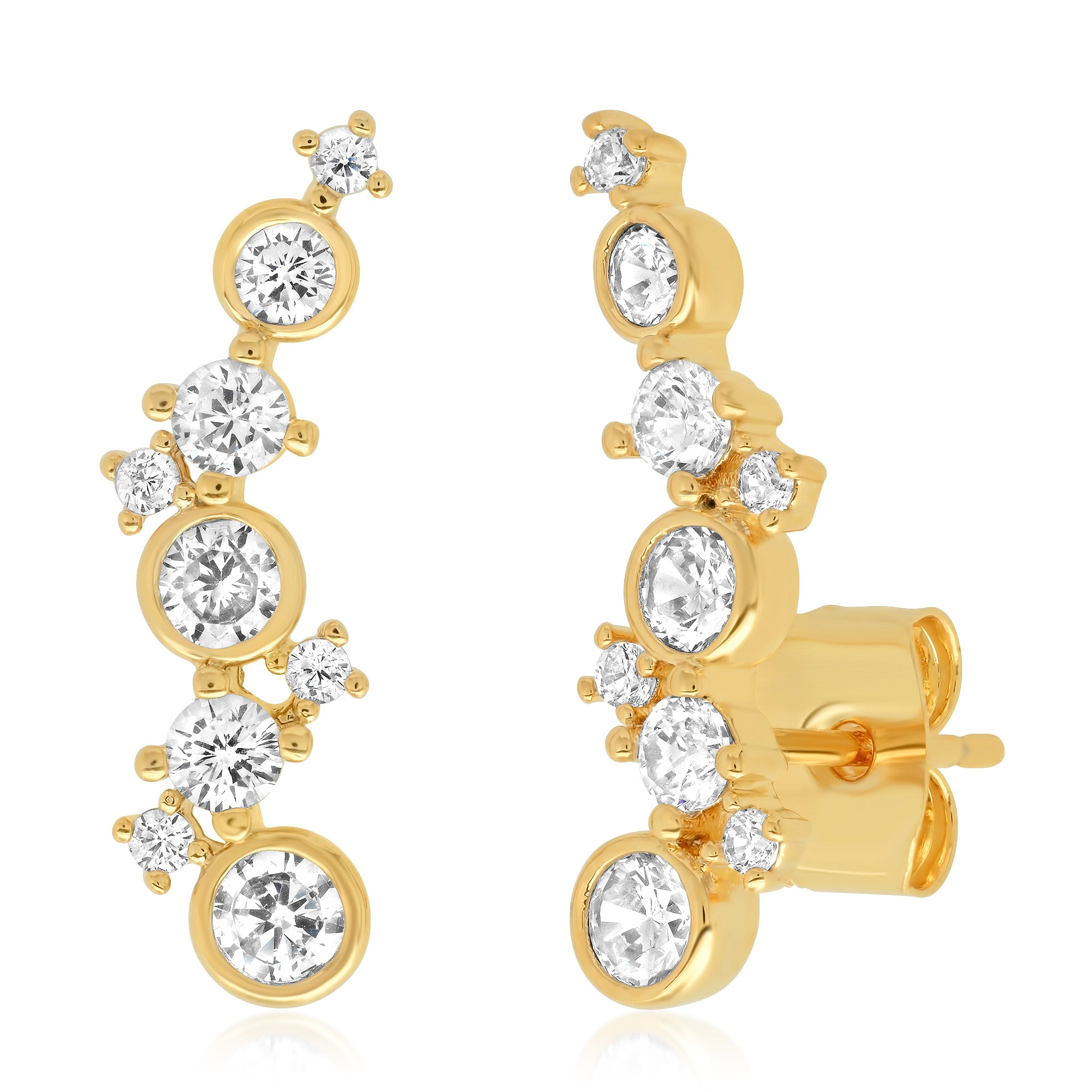 Elegant Gold Climbers with CZ Accents