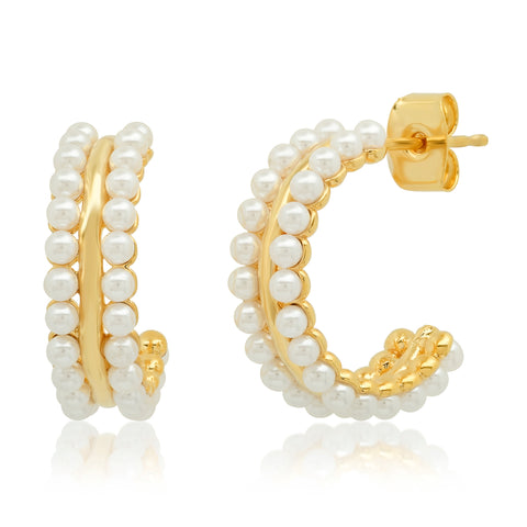 Double Row Pearl Mini Hoops
