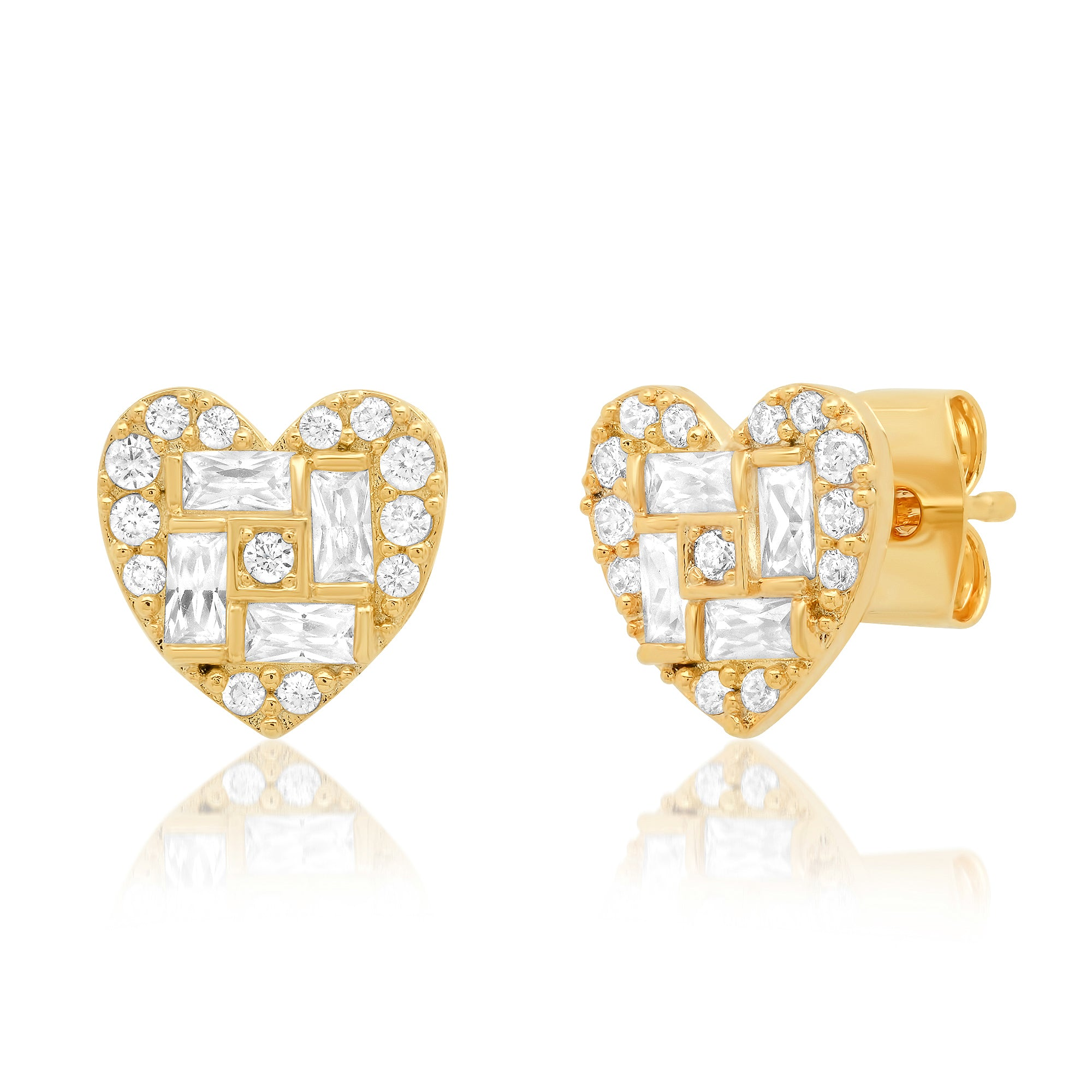 Gold Pave Heart Studs